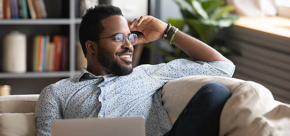 Man thinking of decluttering his space