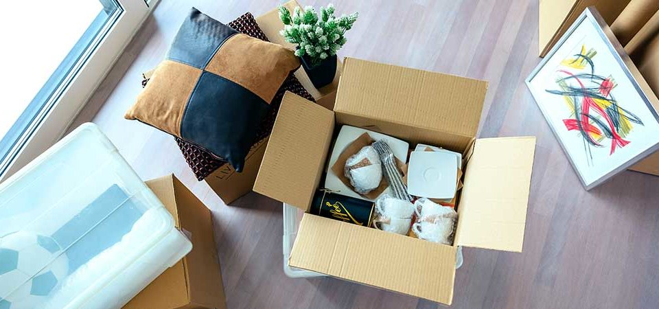Box filled with clutter
